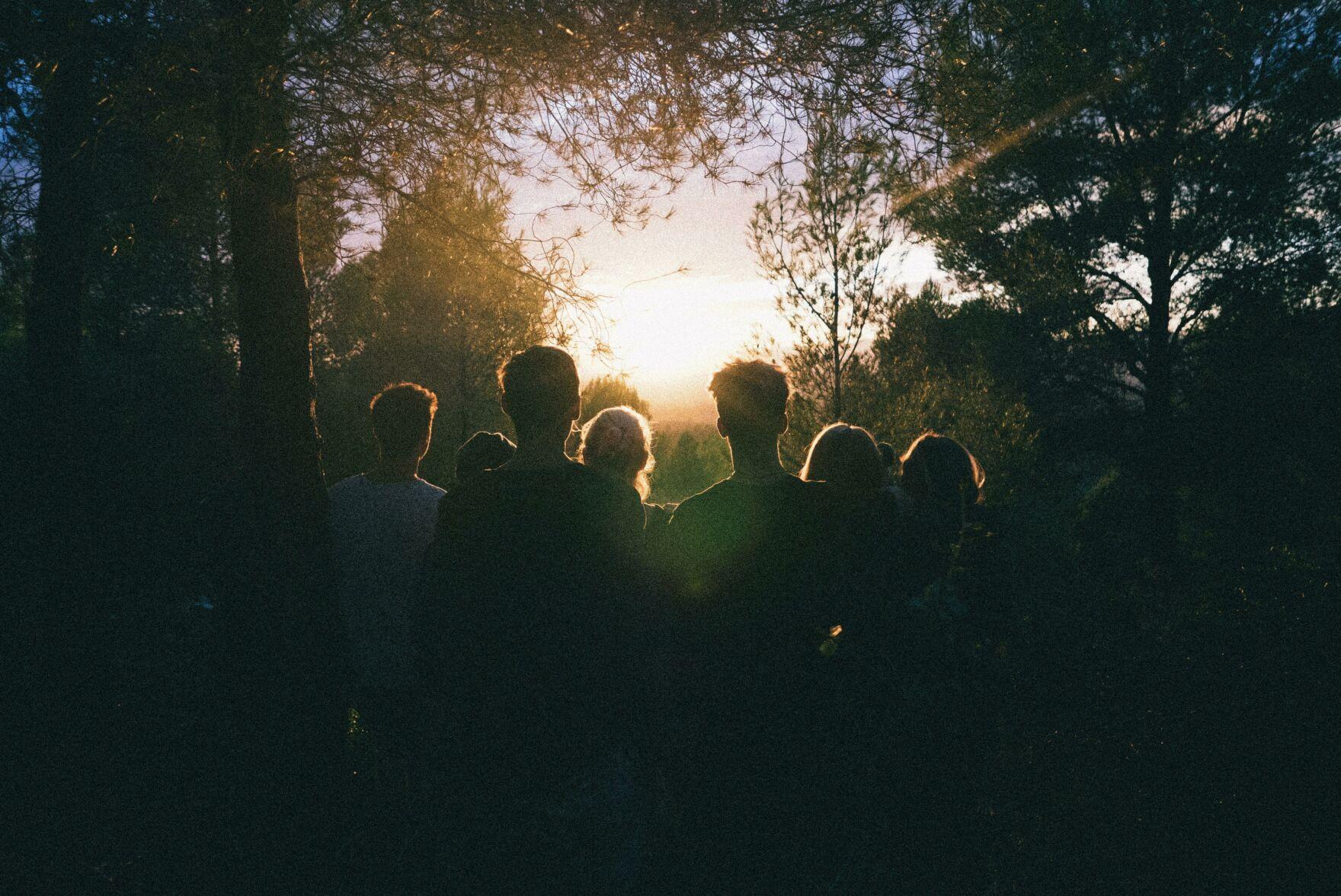 Pexels silhouette of group of people between tree line 939328